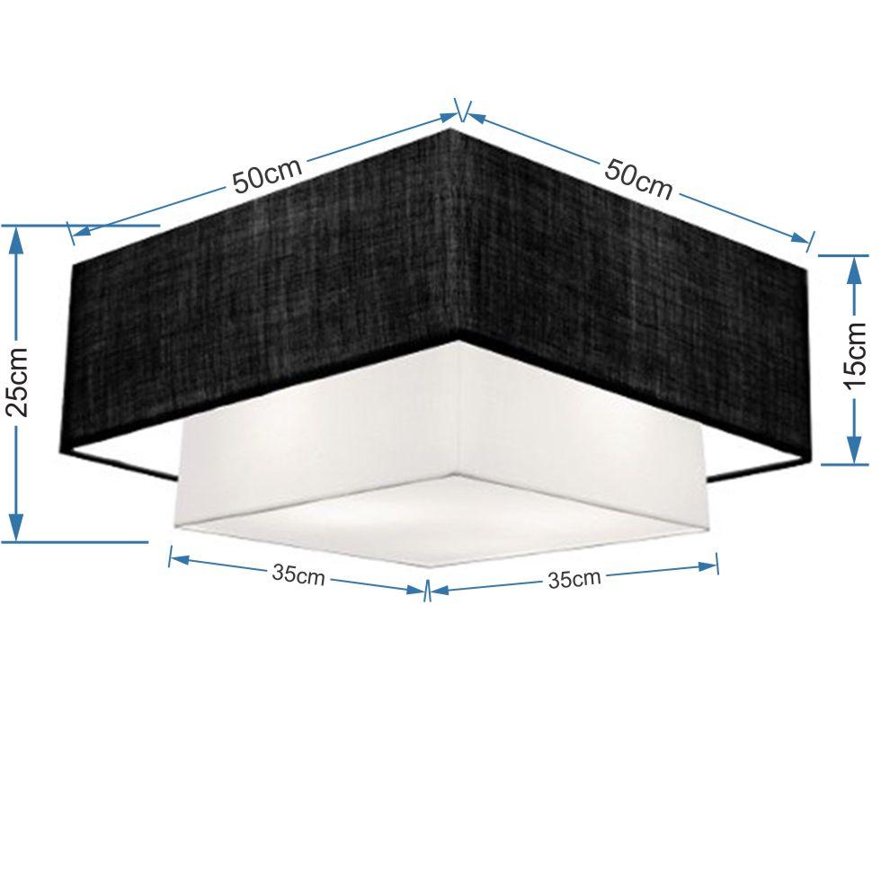 Plafon Duplo Quadrado Md-3022 Cúpula em Tecido 25/50x35cm Preto / Branco - Bivolt