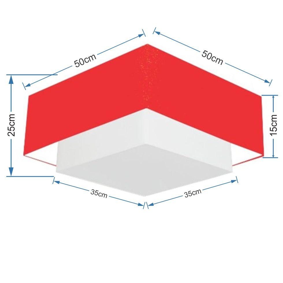 Plafon Duplo Quadrado Md-3022 Cúpula em Tecido 25/50x35cm Vermelho - Bivolt