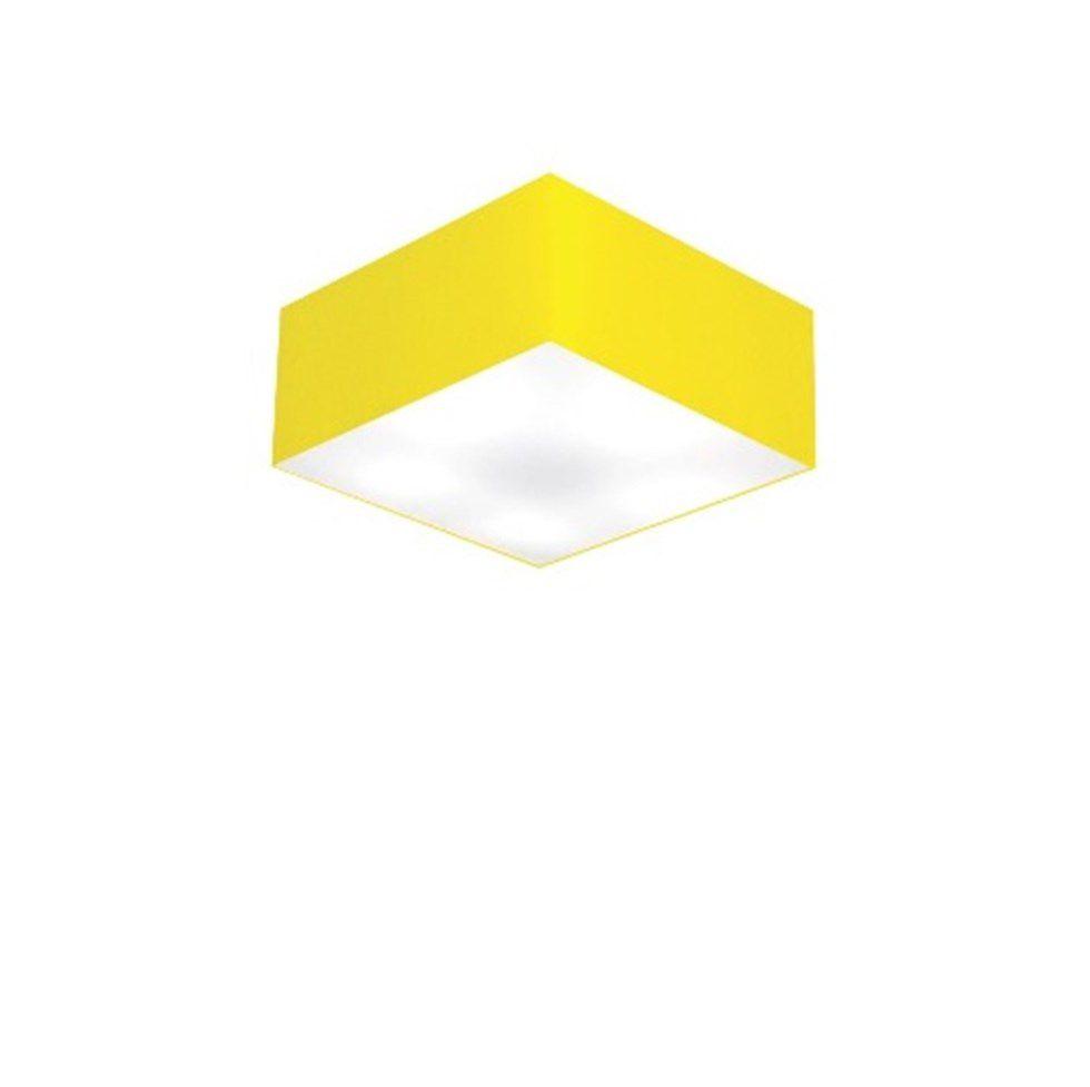 Plafon Quadrado Md-3000 Cúpula em Tecido 12/25x25cm Amarelo - Bivolt