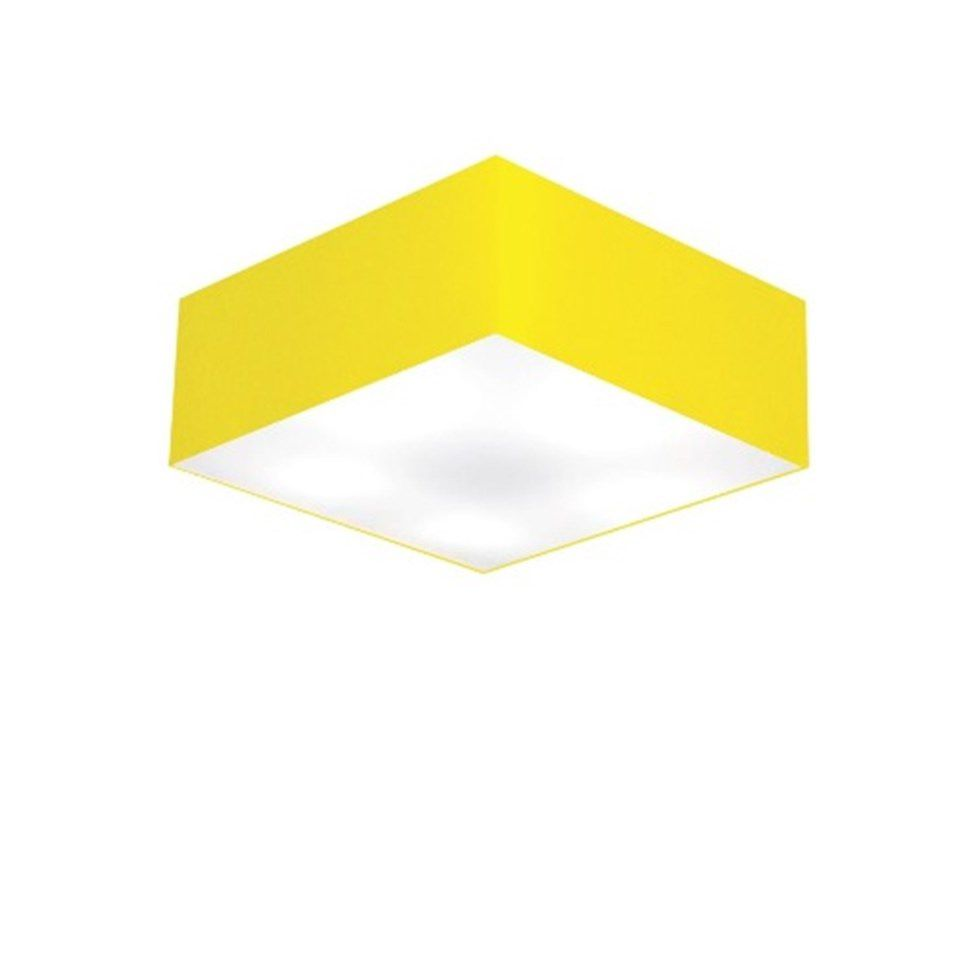 Plafon Quadrado Md-3001 Cúpula em Tecido 12/35x35cm Amarelo - Bivolt
