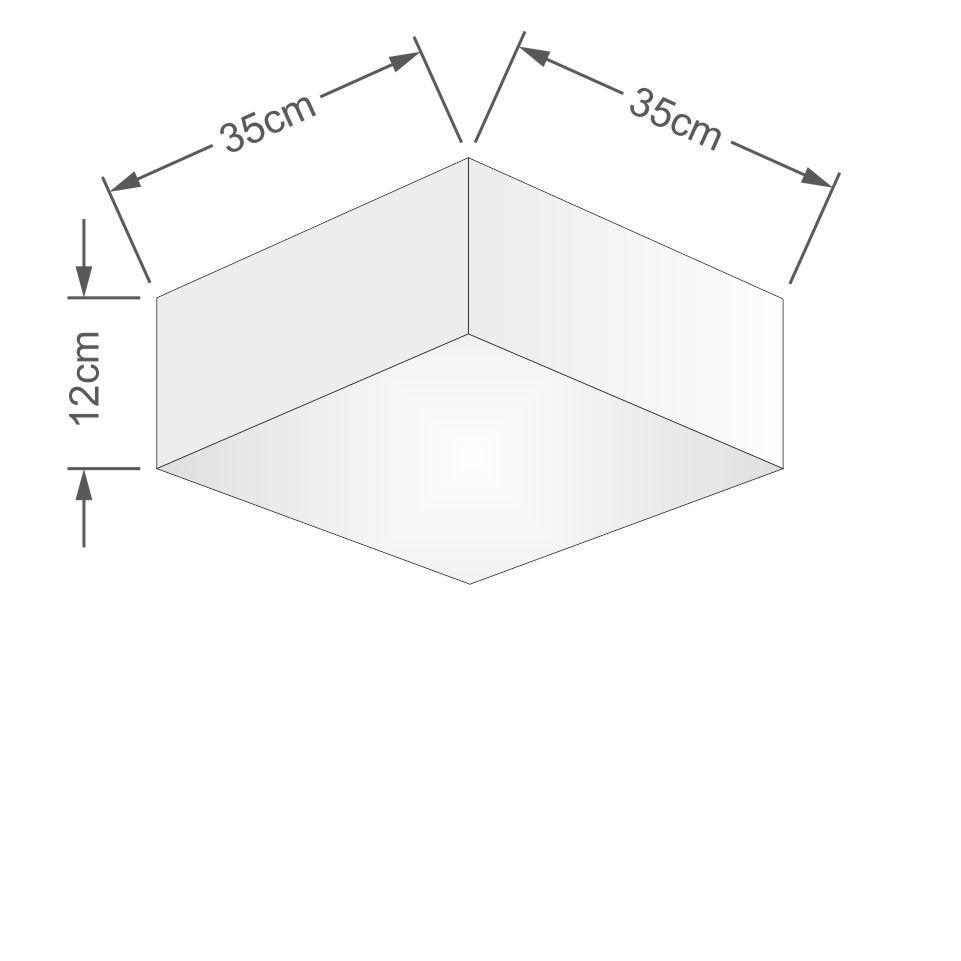 Plafon Quadrado Md-3001 Cúpula em Tecido 12/35x35cm Rustico Cinza - Bivolt
