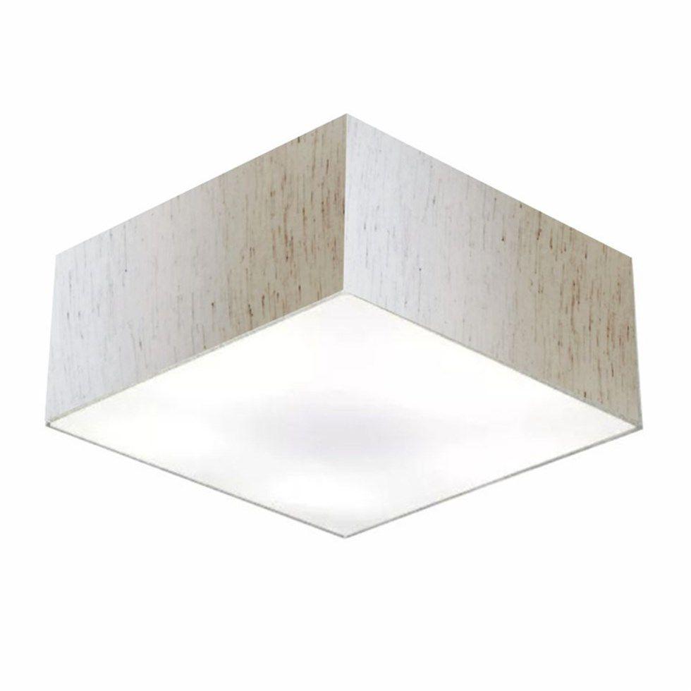 Plafon Quadrado Md-3012 Cúpula em Tecido 21/50x50cm Linho Bege - Bivolt