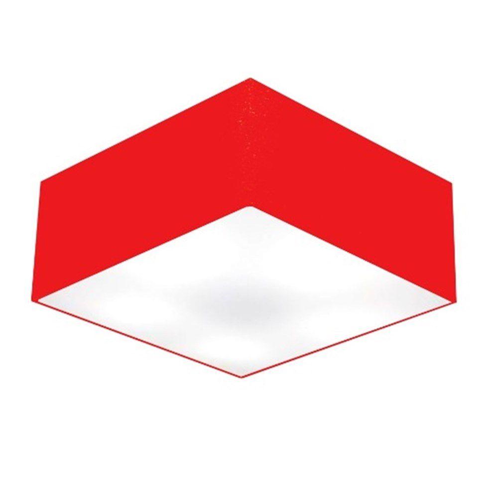 Plafon Quadrado Md-3012 Cúpula em Tecido 21/50x50cm Vermelho - Bivolt