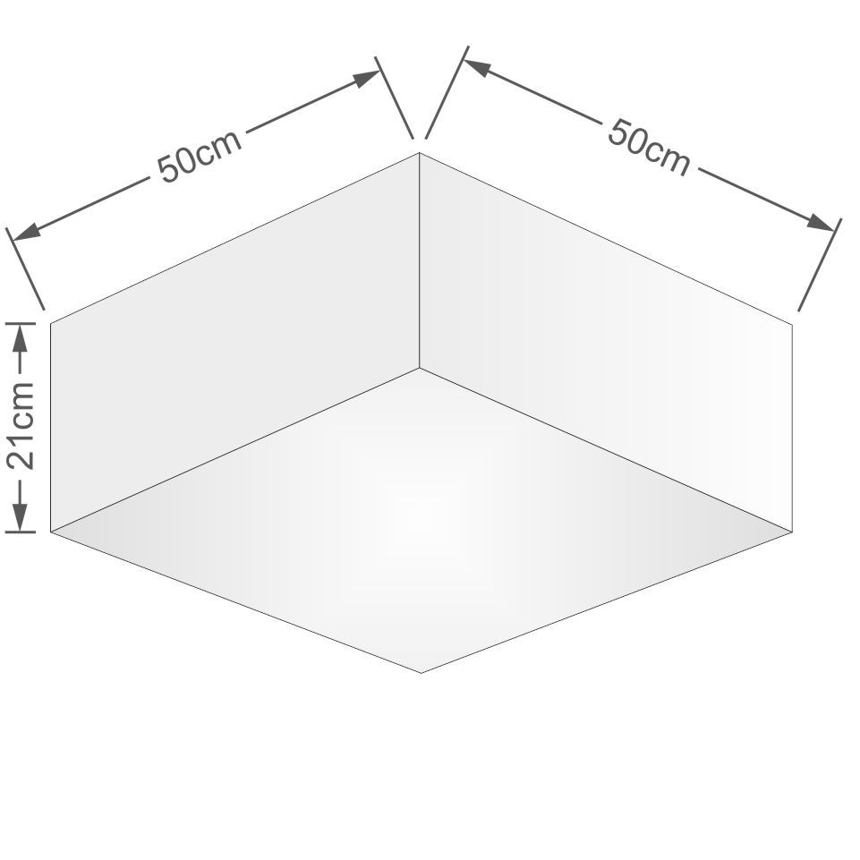 Plafon Quadrado Md-3012 Cúpula em Tecido 21/50x50cm Algodão Crú - Bivolt