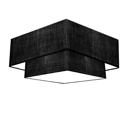 Plafon Duplo Quadrado Md-3022 Cúpula em Tecido 25/50x35cm Preto / Preto - Bivolt