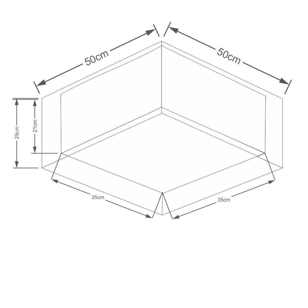 Plafon Quadrado Md-3039 Cúpula em Tecido Dupla 25/50x35cm Palha - Bivolt