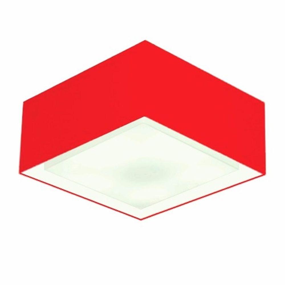 Plafon Quadrado Md-3039 Cúpula em Tecido Dupla 25/50x35cm Vermelho - Bivolt