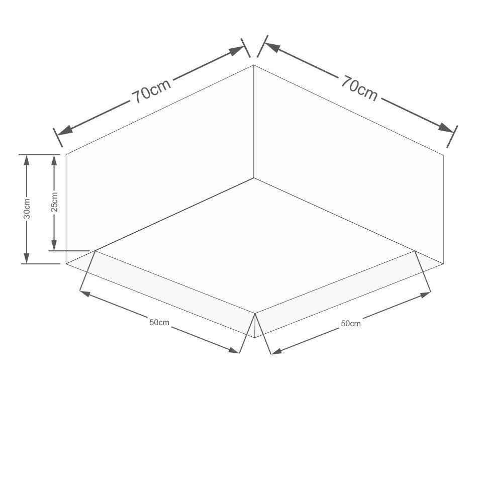 Plafon Quadrado Md-3039 Cúpula em Tecido Dupla 25/50x35cm Algodão Crú - Bivolt