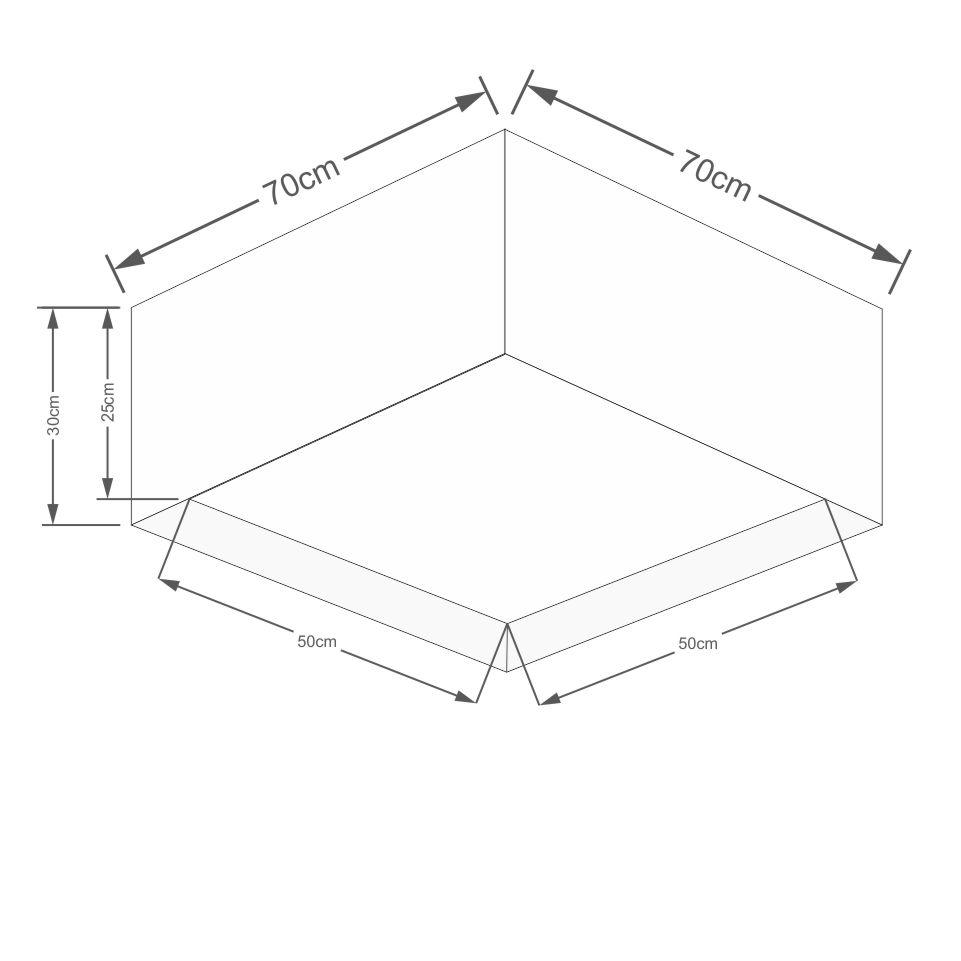 Plafon Quadrado Md-3040 Cúpula em Tecido Dupla 30/70x70cm Palha - Bivolt