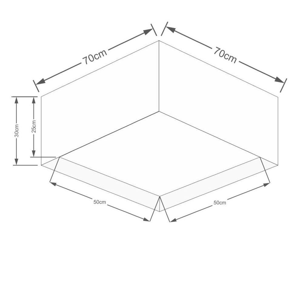 Plafon Quadrado Md-3040 Cúpula em Tecido Dupla 30/70x70cm Rustico Bege - Bivolt