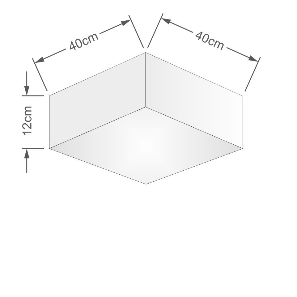 Plafon Quadrado Md-3050 Cúpula em Tecido 12/40x40cm Branco - Bivolt
