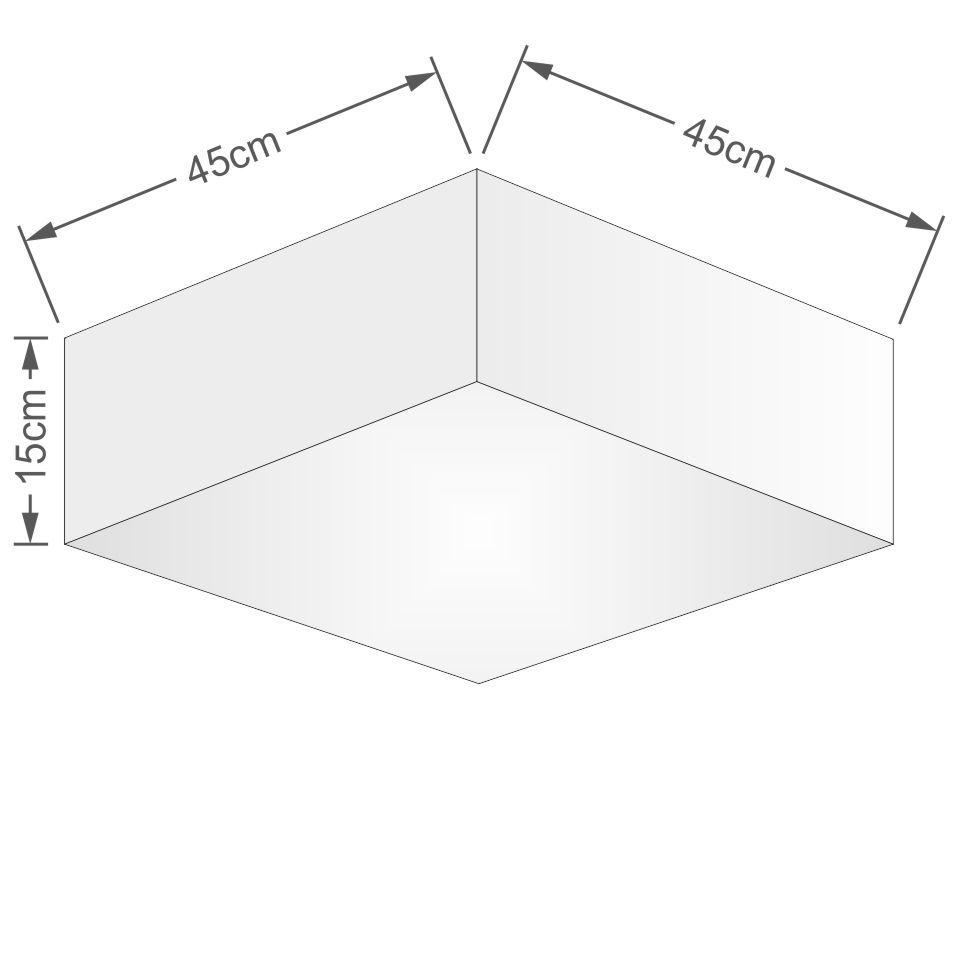 Plafon Quadrado Md-3051 Cúpula em Tecido 15/45x45cm Linho Bege - Bivolt