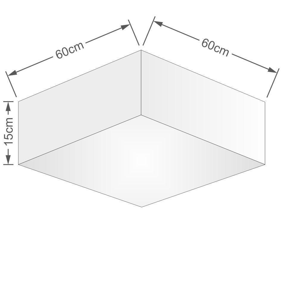 Plafon Quadrado Md-3052 Cúpula em Tecido 15/60x60cm Linho Bege - Bivolt