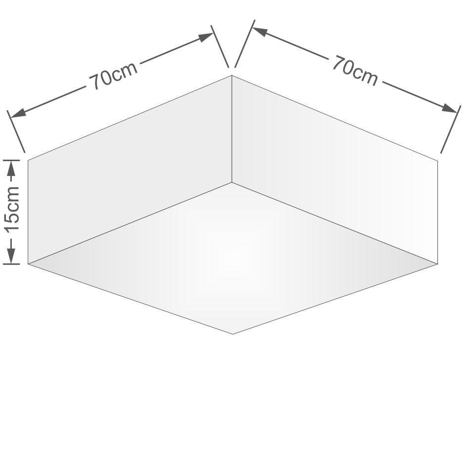Plafon Quadrado Md-3056 Cúpula em Tecido 15/70x70cm Palha - Bivolt