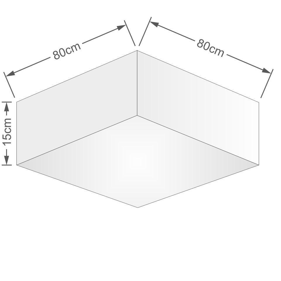 Plafon Quadrado Vivare Md-3059 Cúpula em Tecido 15/80x80cm - Bivolt