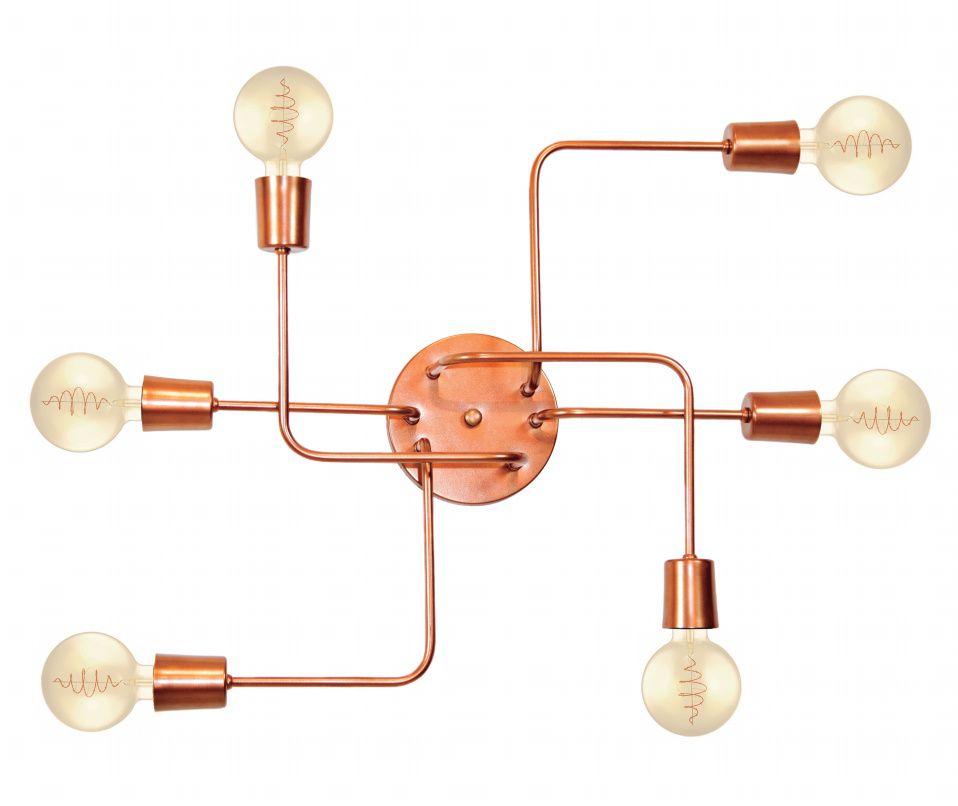 Plafon Retro Vintage Industrial Vivare Md-9000-6 Tamanho 12x62x47cm - Bivolt