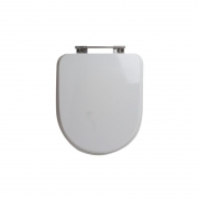 Assento Sanitário Poliéster para Louça Duomo Plus (Deca) Aço Cromado (Reb. Oculto) Branco