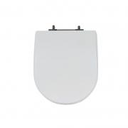 Assento Sanitário Poliéster para Louça Meridian (Roca) Aço Cromado (Reb. Oculto) Branco