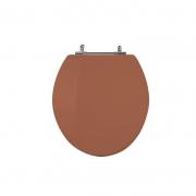 Assento Sanitário Poliéster para Louça Universal/Standard Aço Cromado (Reb. Oculto) Caramelo