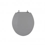 Assento Sanitário Poliéster para Louça Universal/Standard Aço Cromado (Reb. Oculto) Cinza Cromo