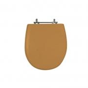 Assento Sanitário Poliéster para Louça Village (Deca) Aço Cromado (Reb. Oculto) Bege Castor