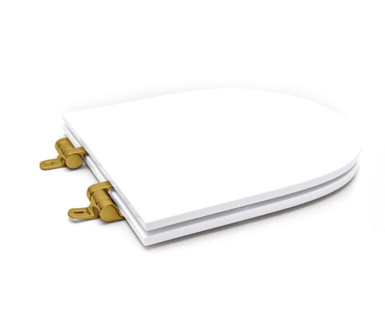 Assento Sanitário Poliéster para Louça Link/Carrara/Belle Époque (Deca) Slow Close Gold (Reb. Oculto) Branco