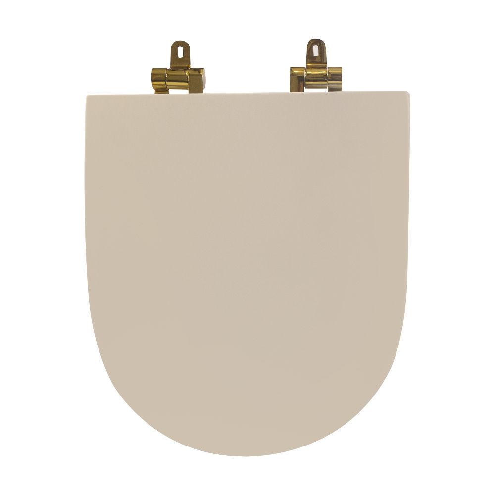 Assento Sanitário Poliéster para Louça Link/Carrara/Belle Époque (Deca) Slow Close Gold (Reb. Oculto) Creme