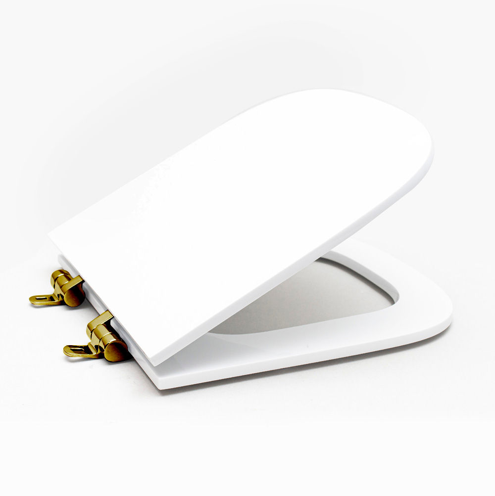 Assento Sanitário Poliéster para Louça Quadra/Unic/Axis (Deca) Slow Close Gold (Reb. Oculto) Branco