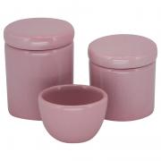 Kit Higiene 3 Peças - Potes Porcelana