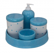 Kit Higiene 5 Peças - Bandeja Porcelana Redonda