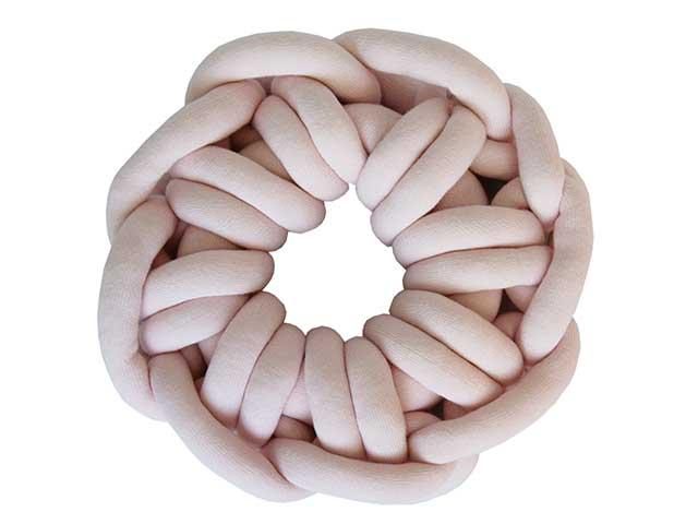 Almofada Knot Pillow Tricô Creative - Rosa Prata