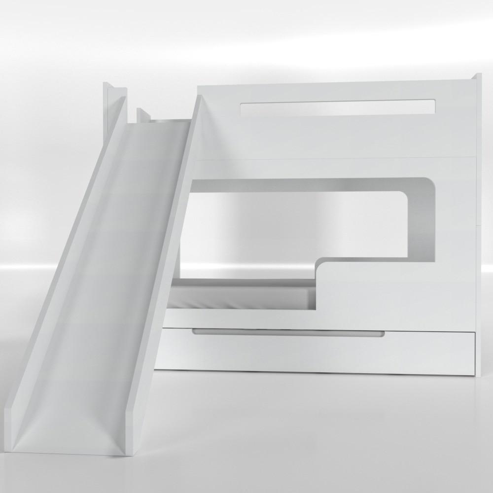 Beliche com escorregador branca - sem cama auxiliar