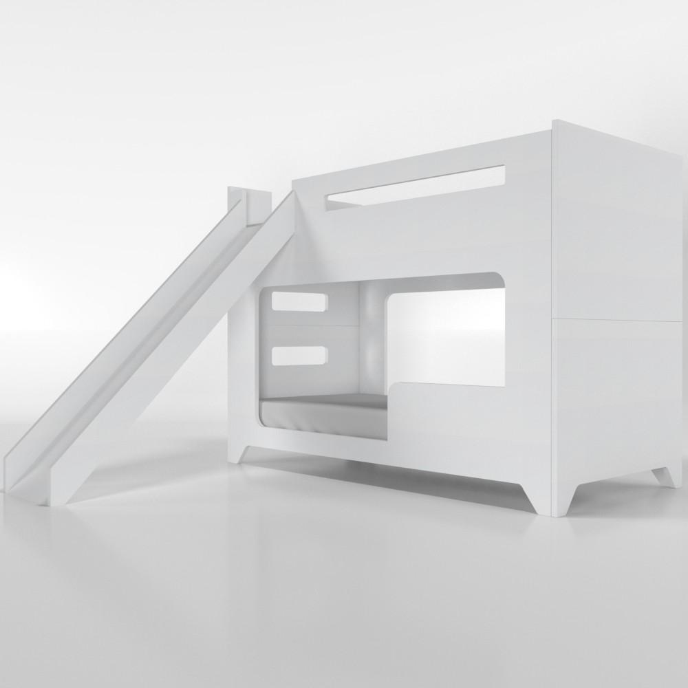 Beliche com escorregador branca - com cama auxiliar (Triliche)