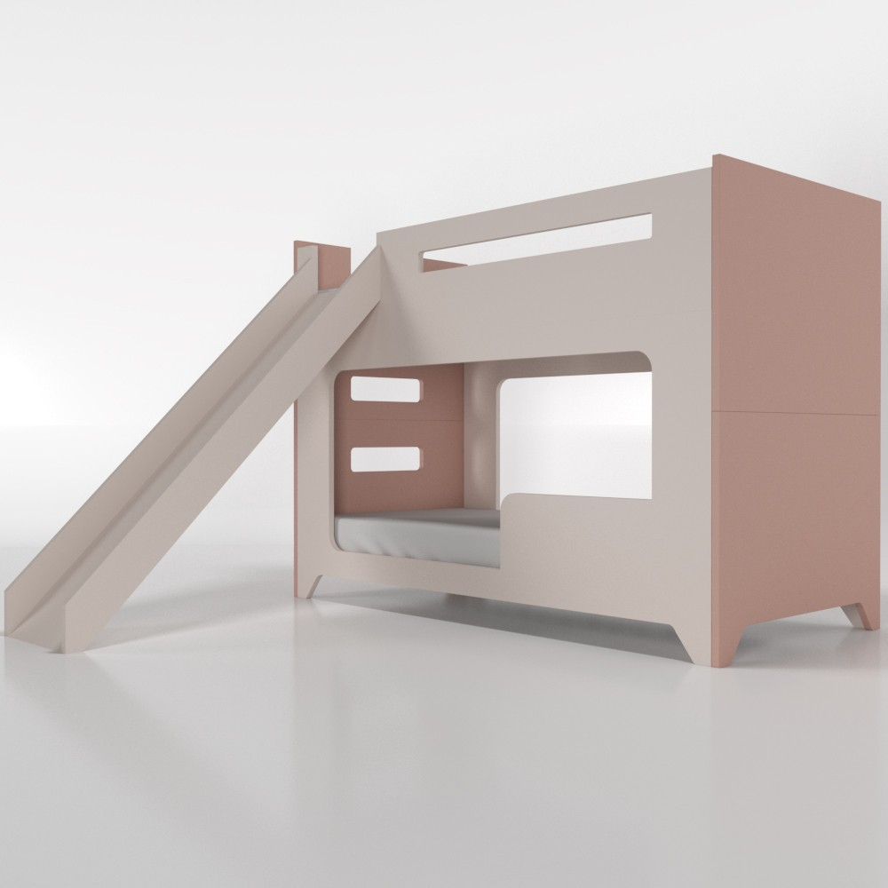 Beliche com escorregador colorida - com cama auxiliar (triliche)