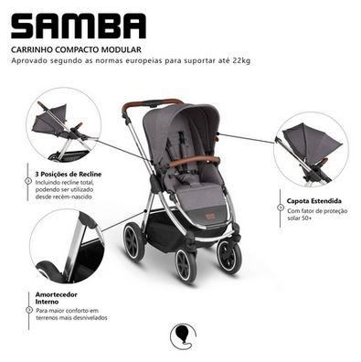 Carrinho de Bebê Samba Travel System Asphalt - ABC Design