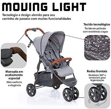 Carrinho Moving Light Woven Grey Com Couro - ABC Design