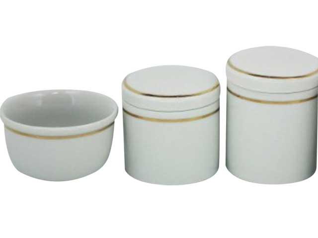 Kit Higiene 3 Peças Off White/Filete de Ouro - Potes Porcelana
