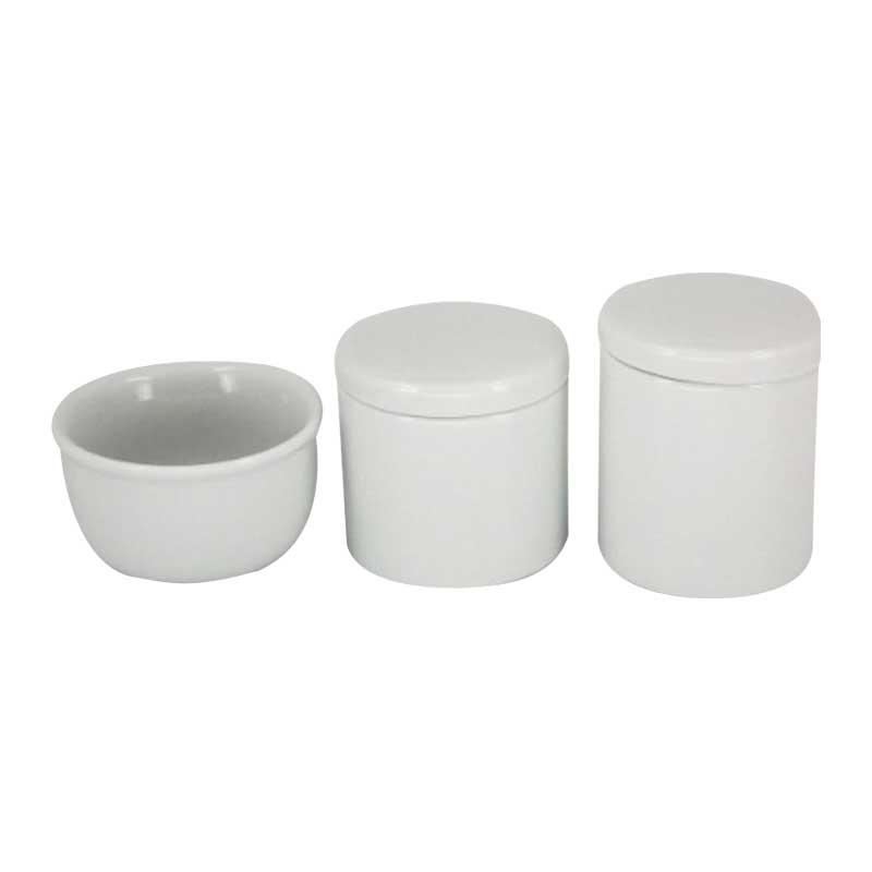 Kit Higiene 3 Peças Off White - Potes Porcelana