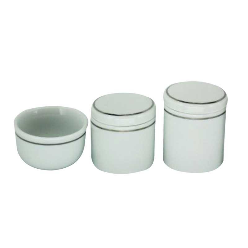 Kit Higiene 3 Peças Off White/Prata - Potes Porcelana