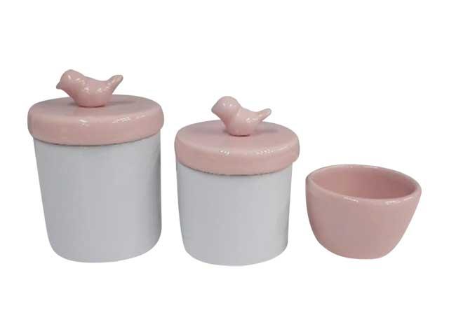 Kit Higiene 3 Peças Rosa/Pássaros - Potes Porcelana