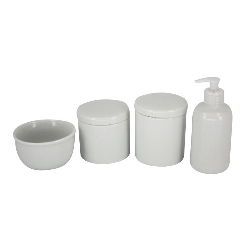 Kit Higiene 4 Peças Off White- Potes Porcelana
