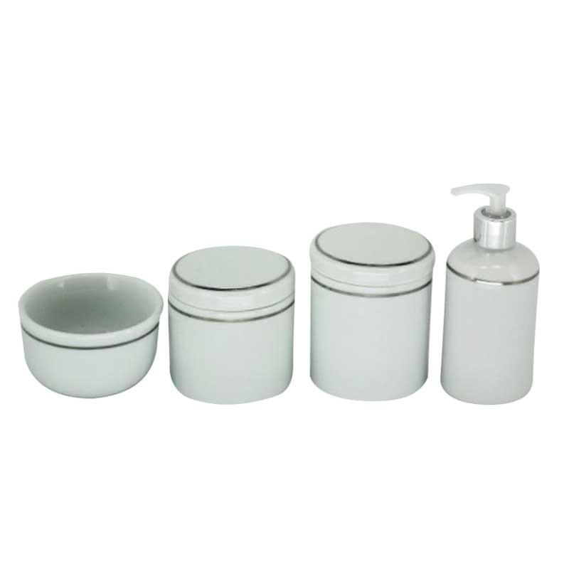 Kit Higiene 4 Peças Off White/Prata - Potes Porcelana
