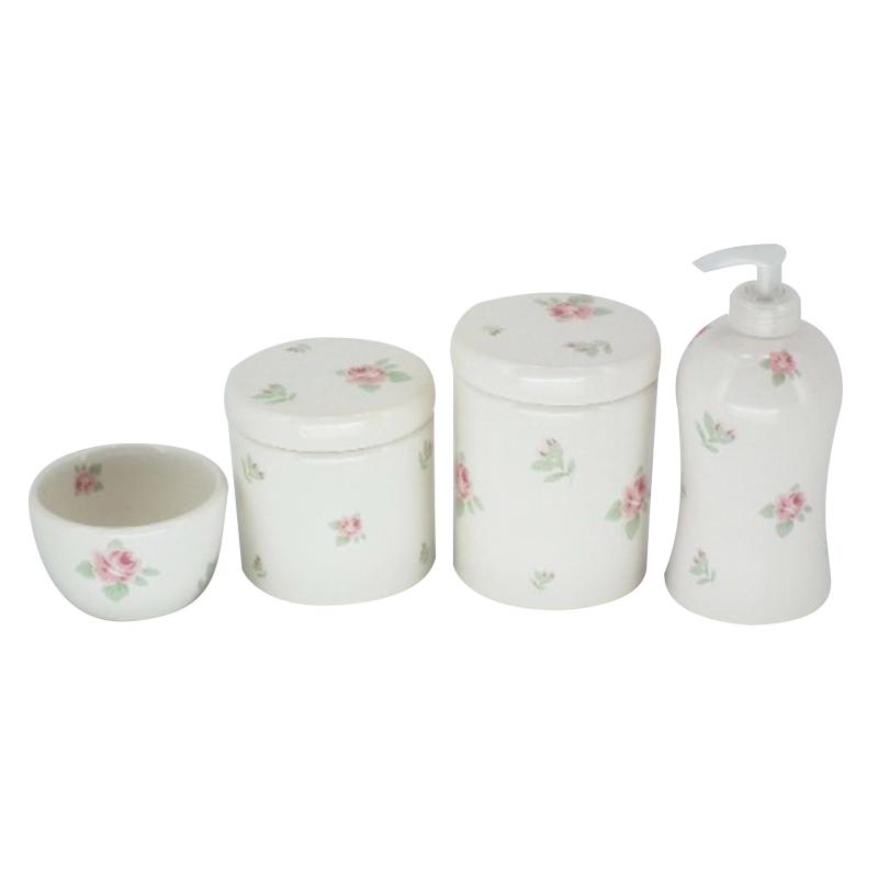 Kit Higiene 4 Peças - Potes Porcelana
