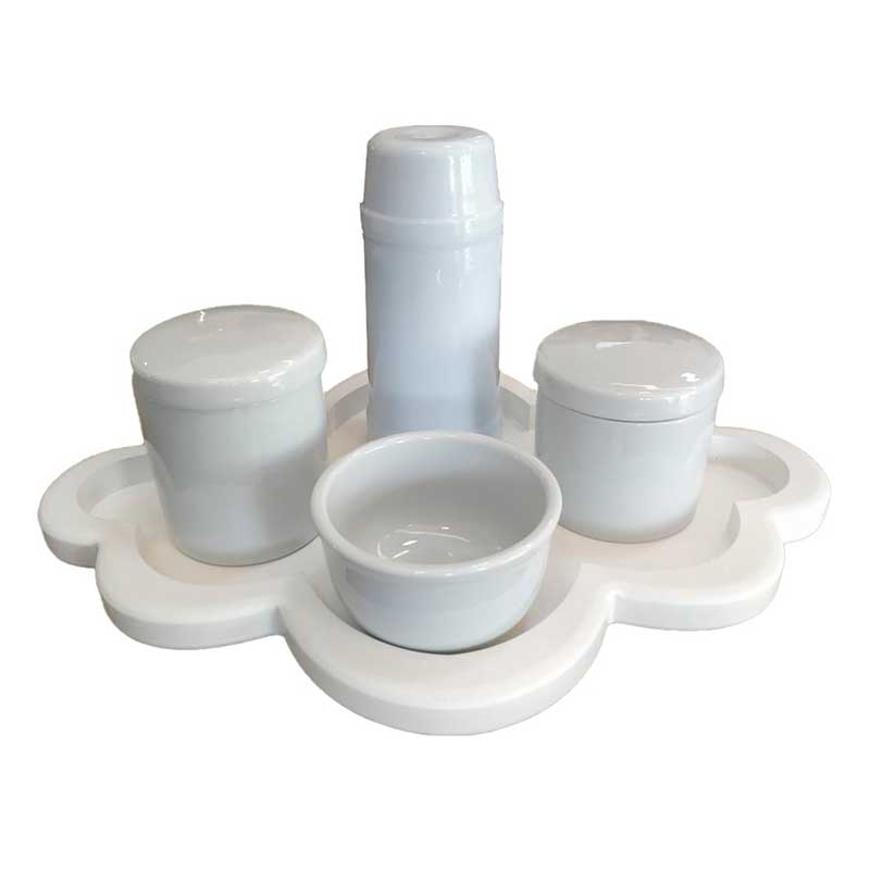 Kit Higiene 5 Peças - Bandeja Nuvem