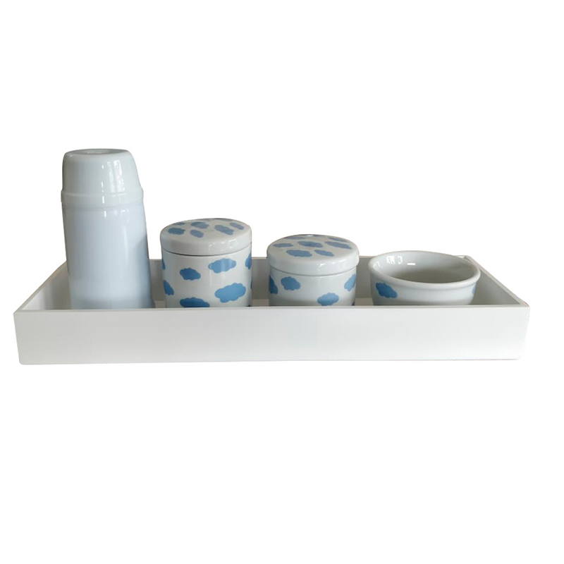 Kit Higiene 5 Peças Nuvem Azul - Bandeja Madeira Retangular