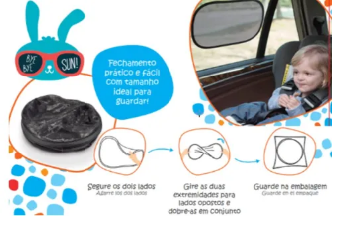 Protetor Solar Bebe Carro Duplo Multikids