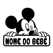 Adesivo Bebê a Bordo Mickey Com Nome Personalizado