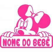 Adesivo Bebê a Bordo Minnie Com Nome Personalizado