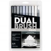 Canetas Dual Brush Tombow Kit c/10 canetas - Tons de Cinza