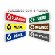 Kit 6 Placas Lixo Reciclável